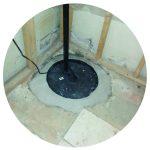 Sump pump in a basement